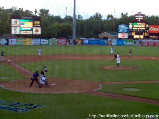 Below pitches for the Whitecaps in front of a sold out crowd at Fifth Third Ballpark