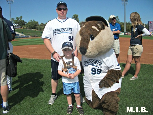 Brian and I with Whitecaps mascot Crash the River Rascal!