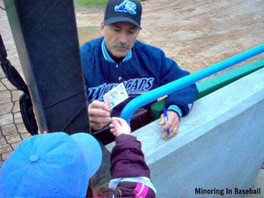 Brookens signs a baseball card for Lily back in 2007