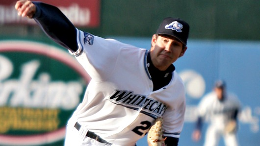 Luke Putkonen pitching for the Whitecaps back in 2009