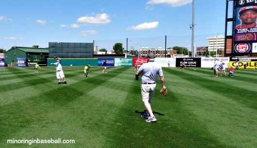 Playing catch on the field!