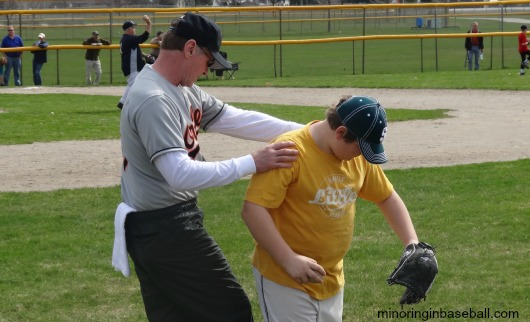 MLB Alumni Rob Ellis helps Trevor with his throwing mechanics