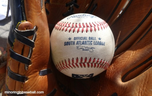 Finally! My first South Atlantic League game ball!