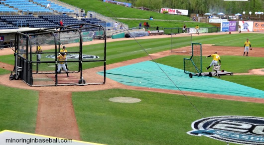 We were early enough to see the Hot Rods take some batting practice