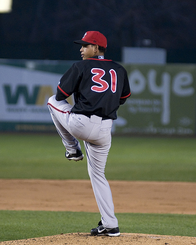 Henderson Alvarez pitching for Lansing in 2009