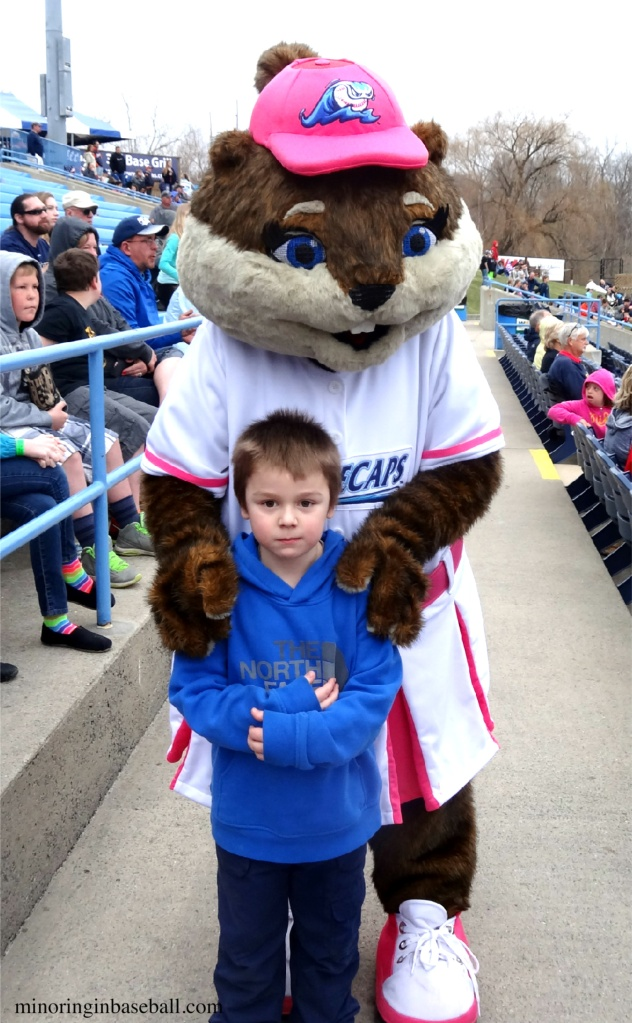 Brian was seriously happy to meet the Whitecaps new mascot, Roxy the River Rascal. Seriously...