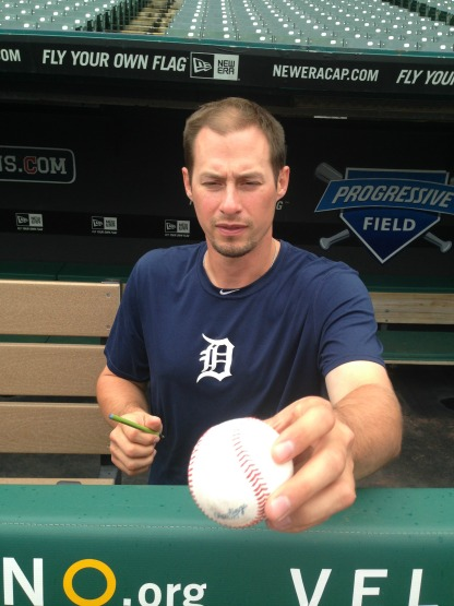 Don Kelly signing the baseball I, uh, found...