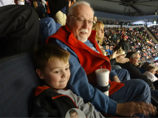 Brian enjoying the game with his Papa