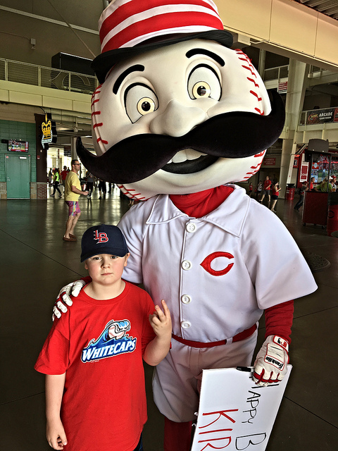 Brian with Mr. Redlegs