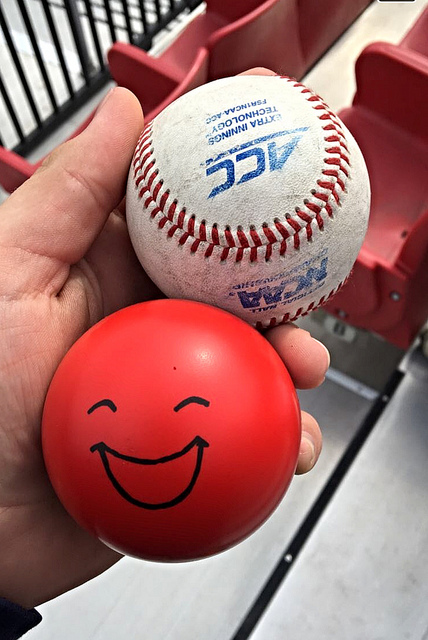 Trevor snagged a foul ball, and found a UofL stress ball