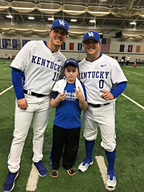 Brian with members of the UK baseball team at Fan Day